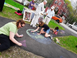 """chalk art during Earth Day """"Dam-Free"""" River Fest"""