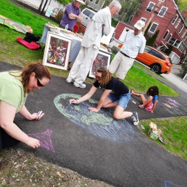 "chalk art during Earth Day ""Dam-Free"" River Fest"
