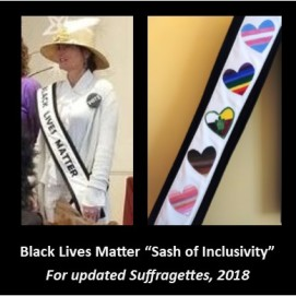 fabric sash created for Women's March #powertothepolls